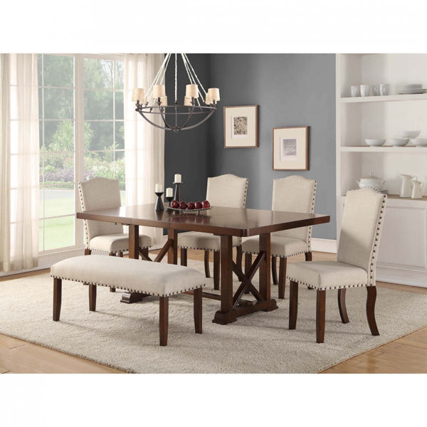 Picture of Upholstered Dining Bench - Linen Color