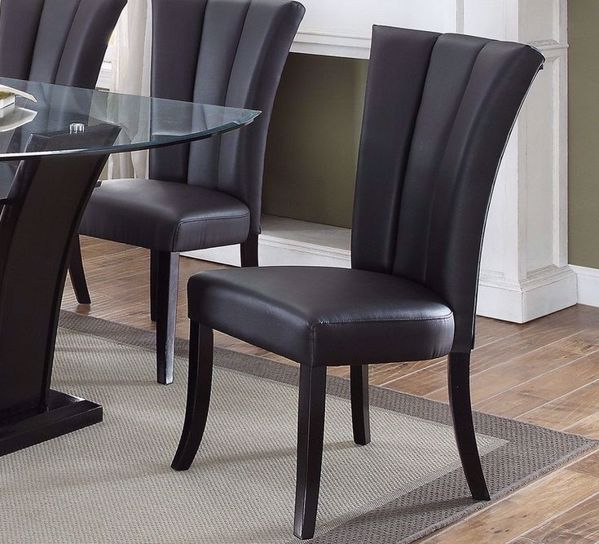 Picture of BLACK LEATHERETTE DINING CHAIR