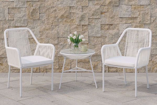 Picture of 3 PC White Patio Chair Set
